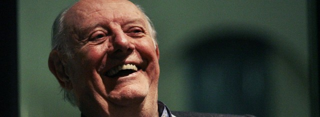 Italian Nobel literature laureate Fo smiles during the presentation of his new book in downtown Milan