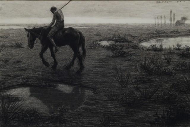 Domenico Baccarini, Uomo a cavallo nella landa, 1906