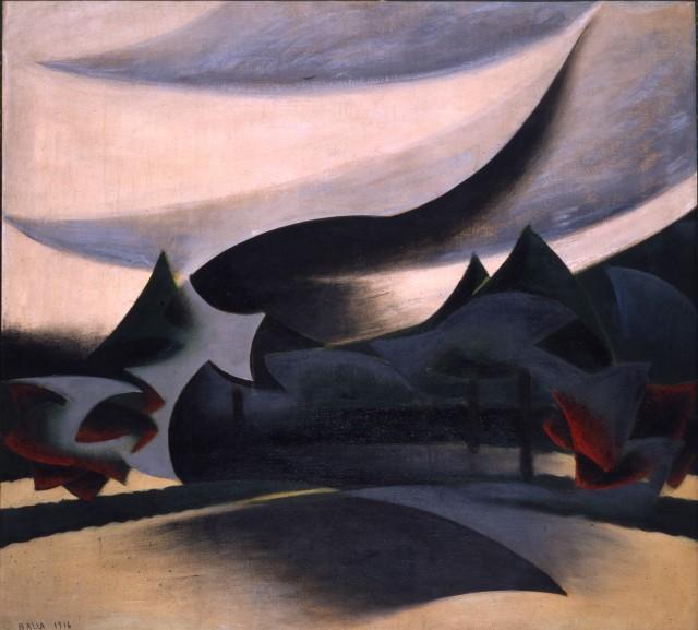 Giacomo Balla, Paesaggio + Velo di vedova, 1916