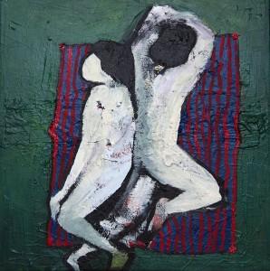"""Figure su telo"", 50x50, acrilico e olio su tela, 2015"