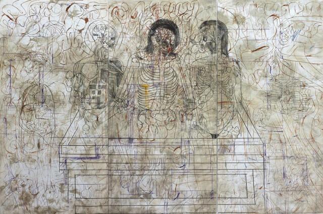 Hermann Nitsch, Deposizione nel sepolcro, serigrafia su relitto, 2007 - Courtesy Boxart, Verona